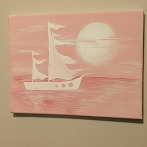🇨🇦 Hand painted Pink Sails Acrylic on Canvas